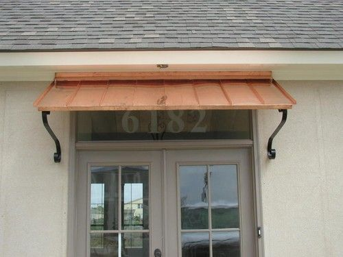 6 Ft Copper Window Or Door Awning With Decorative Scrolls