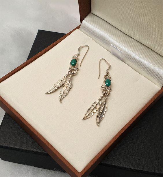 Ohrringe Ohrhaken Silber 925 Turkis Indianer Federn Silberschmiede Kunst Vintage So273 Indianer Federn Silber Indianerschmuck