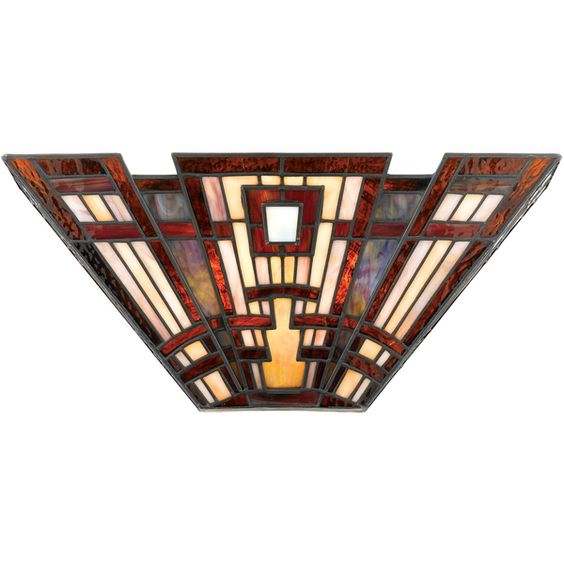 Craftsman Art Glass 2-light Pocket Wall Sconce - Overstock™ Shopping - Great Deals on Quoizel Tiffany Style Lighting