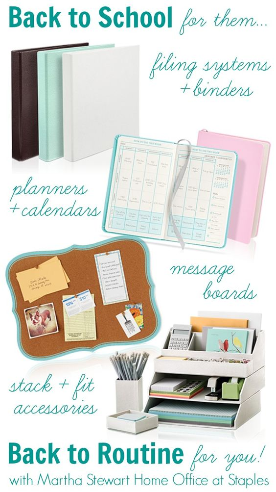 School organization martha stewart home and back to school on pinterest - Back to school organization ...