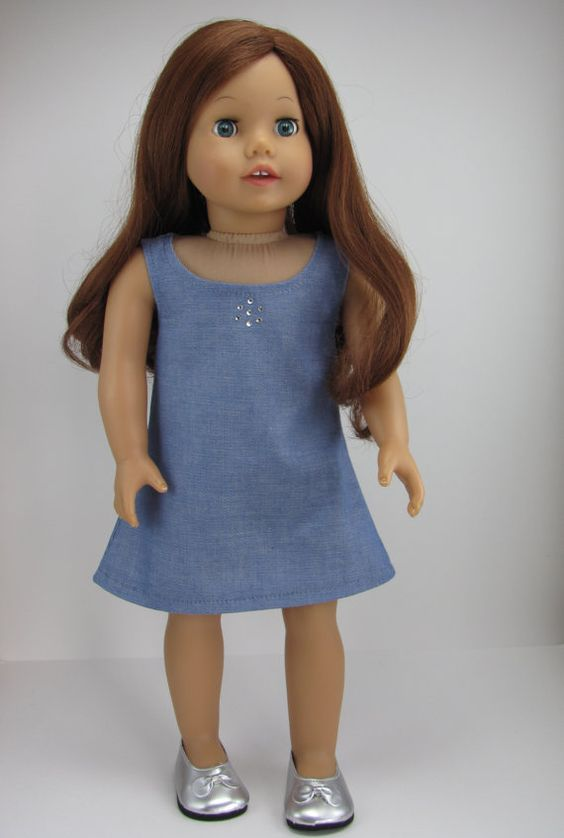 American Girl Doll Clothes - SALE.... Summer  Sleeveless Dress With Rhinestone Accents
