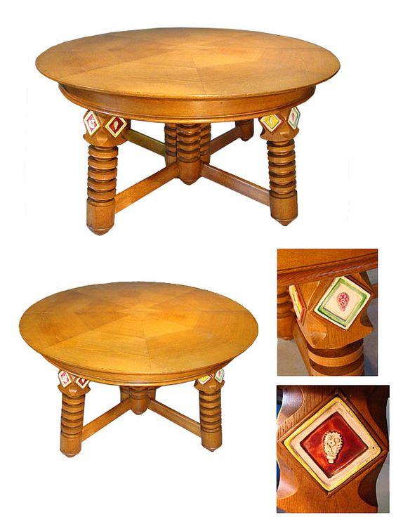 grande table de salle a manger en chene placage de chene agrementee de carreaux - Salle A Manger Grande Table