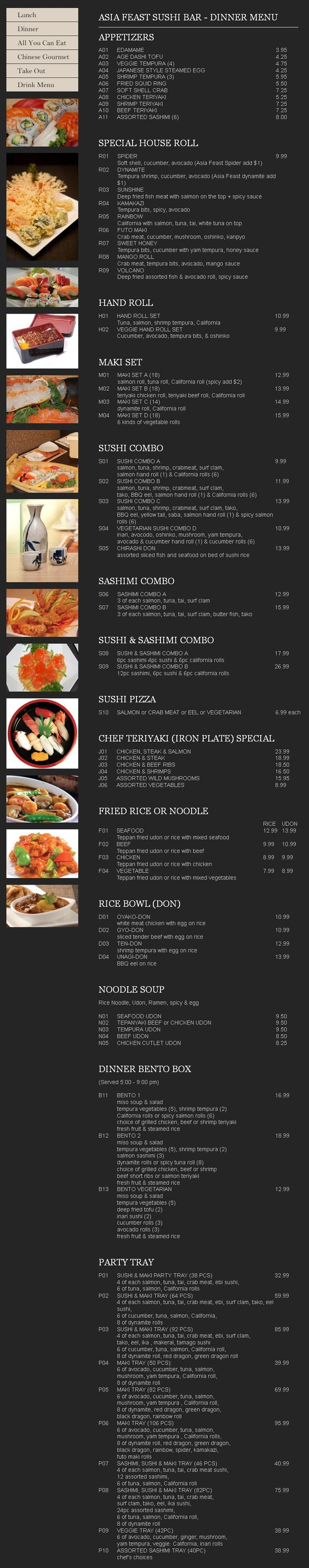 Asia Feast Sushi Bar dinner menu