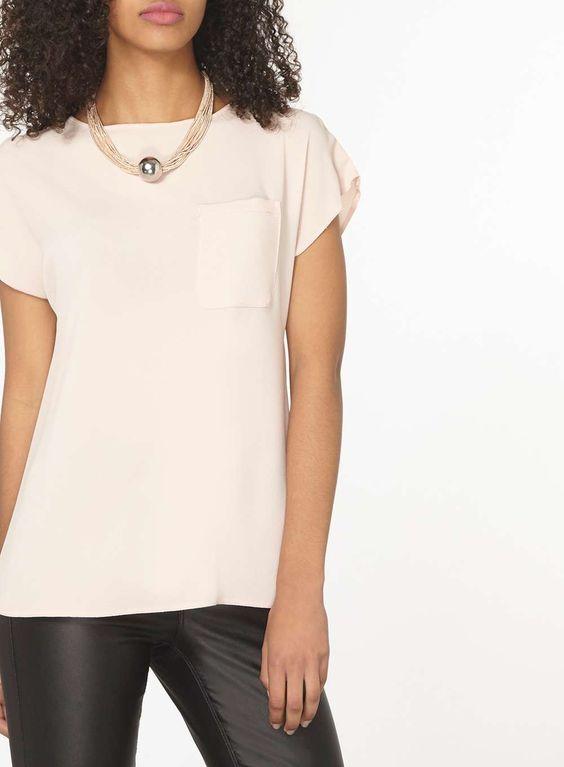 Blush Curve Zip Back T-Shirt   Dorothy Perkins
