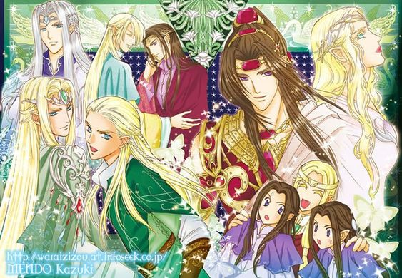 In a clockwise direction from the top left corner; King Thingol, Glorfindel, Erestor, Feanor, Galadriel, Elros, Finwe, Elrond, Legolas and Thranduil.