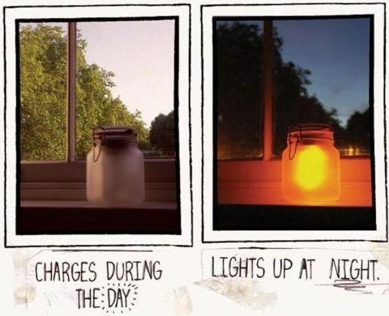 Solar Glow Jar using solar yard lights and jars!