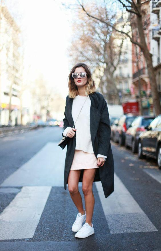 Forever 21 jumper- forever 21 skirt - stan smith sneakers - choies coat - HM sunglasses - saint laurent betty bag