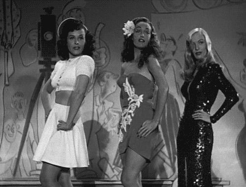 Paulette Goddard, Dorothy Lamour, and Veronica Lake in Star Spangled Rhythm (1942).