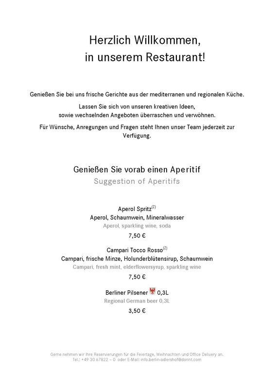 Speisekarte Restaurant im Dorint Hotel Adlershof Berlin Resorts - küche zu verschenken berlin