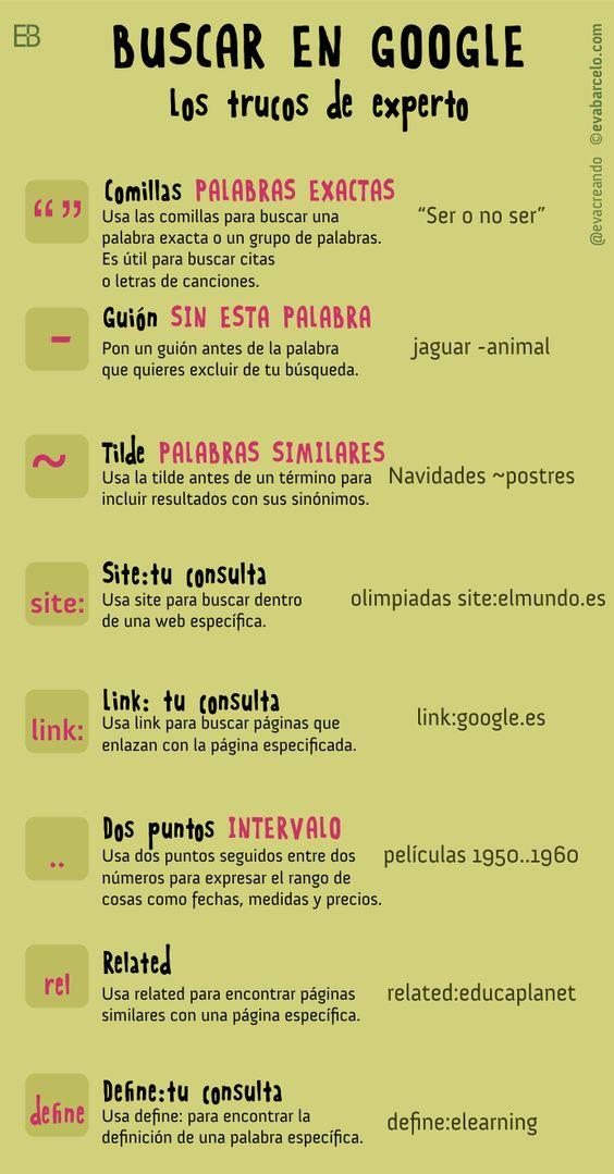 Trucos para mejorar en las búsquedas de Google #buscar #Internet #Educación