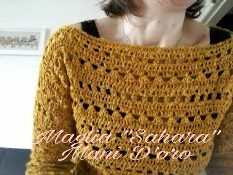 Maglia Cotone Uncinetto.Tutorial Maglia Sahara Uncinetto Mani D Oro Youtube