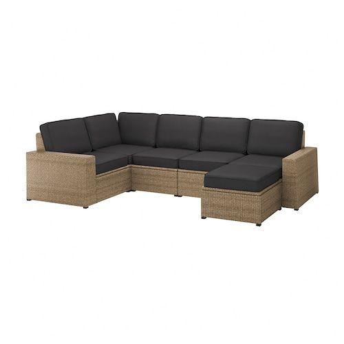 Solleron Modular Corner Sofa 4 Seat Outdoor With Footstool Brown Brown Froson Duvholmen Beige Ikea In 2020 Modular Corner Sofa Corner Sofa Ikea