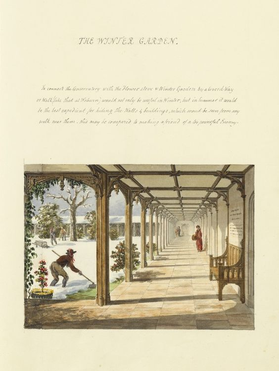 Humphrey Repton explains the benefits of adding a covered walkway to your winter garden, 1813