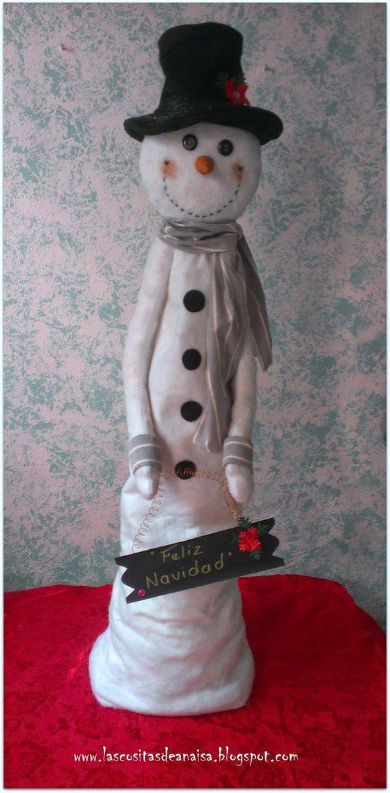 El taller de Anaisa: SNOWMAN DE PIE O EN CUCLILLAS (Hombre de nieve)