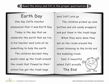 The story earth kittens 2nd grades earth day worksheets worksheets