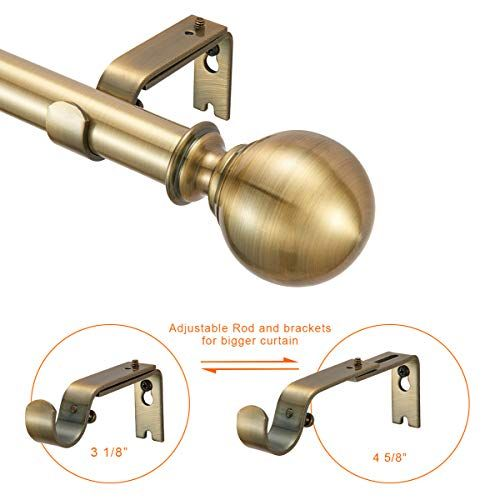french door curtain rods no drill white
