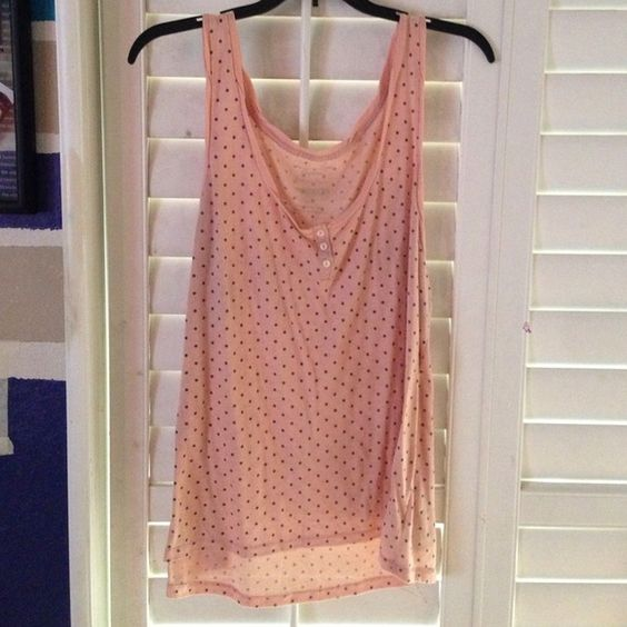 Pink tank top Pale pink shirt with navy polka dots. Light material. Worn a few times. American Eagle Outfitters Tops Tank Tops