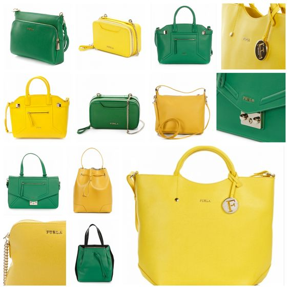 Furla nahdbags in yellow and green. #Furla
