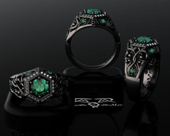 unique emerald engagement ring in black gold deco
