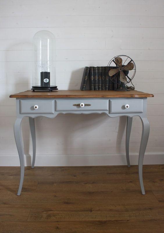 Meuble bleu et naturel furniture painting tables - Ceruser un meuble en pin ...