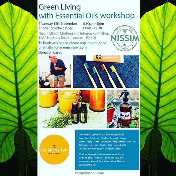 Have you ever wondered what ingredients are used in your toothpaste or cleaning products?....words we don't usually understand which normally means a load of nasties!!! As a company that tries really hard to offer transparency we are super excited to host a different kind of workshop in our Nissim pop-up shop on Thursday 17th November from 6.30-8pm. Come and learn how to make your own products using essential oils with the expert @mrs_wallers_tribe It will be really informative and FUN!!! Email info@emmanissim to book your place now. All donation based . . . #learn #new #workshop #natural #potion #nochemicals #essentialoils #naturalcleaning #greenliving #clean #cleanliving  #yogalife #vegan #mindfulliving #nonasties #trynewthings #ethical #transparency #sustainable #makeadifference #funalivefresh #nissimlondon