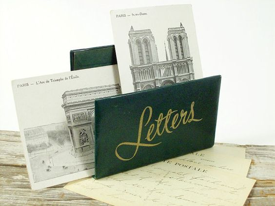 Letter Holder Mail Holder Mid Century Green Gold by Circa810. $8.00, via Etsy.