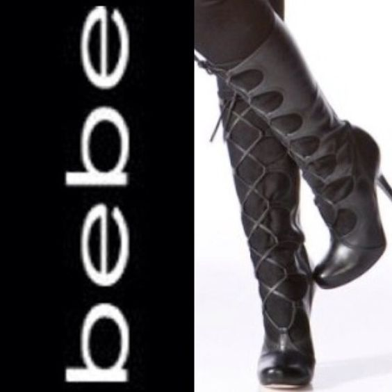 Bebe boots Gently worn Bebe boots. Black leather knee boots lace up the front with side zip. No box. bebe Shoes