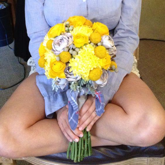 Mel's yellow/gray bouquet w/our grandpa's kerchief.