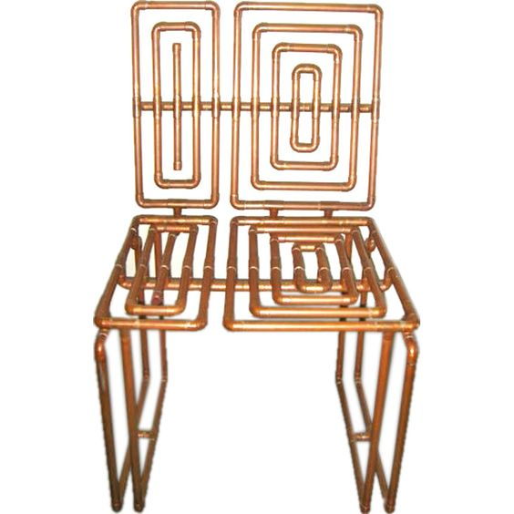 sculpture chair in copper pipe by t j volonis | beautiful, copper