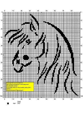 #gráfico ponto cruz #ponto cruz #Cavalo Contours-4.jpg