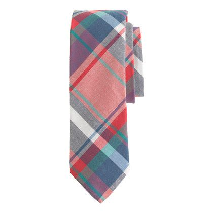 Indian cotton tie in rose tile plaid