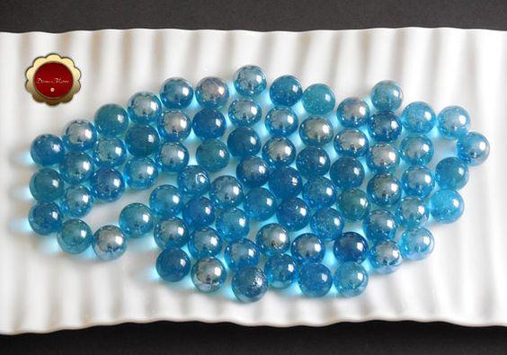 72 Light Blue Marbles Iridescent Blue Glass Marbles Decorative Blue Marbles Iridescent Glass Round Glass Flor Iridescent Glass Floral Supplies Floral Foam