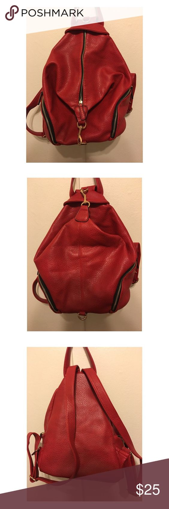 Expressions NYC Red Faux Leather Backpack/Handbag | D, Nyc and Pockets