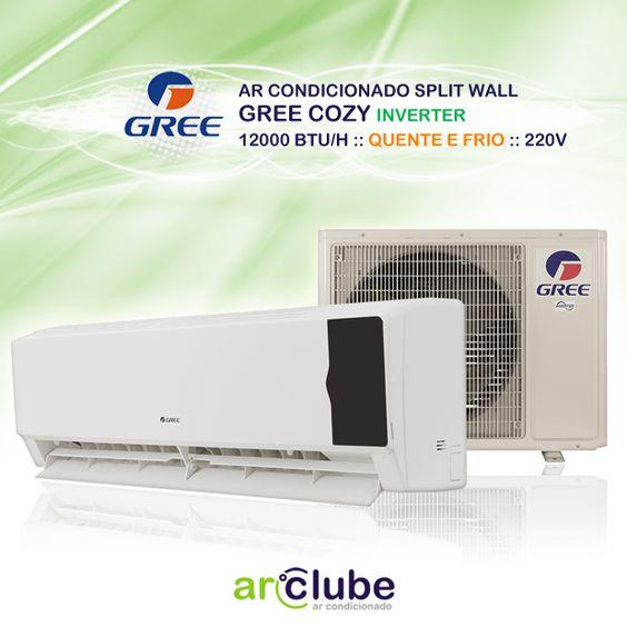 Preço e mais informações: http://www.arclube.com.br/ar-condicionado-split-wall-gree-cozy-inverter-12000-btu-h-quente-e-frio-220v.html  - Ar Condicionado Split Wall Gree Cozy Inverter 12000 btu/h Quente e Frio 220v  Os aparelhos Gree Garden apresentam a perfeita combinação de design e economia de energia com selo procel para capacidade de 9, 12, 18, 24 mil BTUS e proteção extra Blue Layer em toda sua linha, inibindo corrosões causadas por eventos climáticos como a maresia do mar.