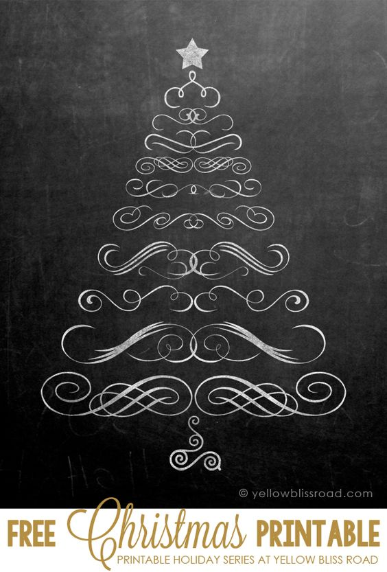Free Printable Chalkboard Christmas Tree - so cute!  #holidayideaexchange: