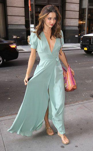 Miranda Kerr in mint green maxi dress