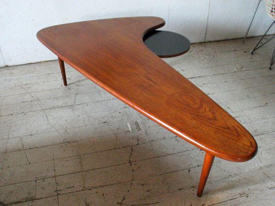 Mid Century Danish Modern Teak Boomerang Coffee Table