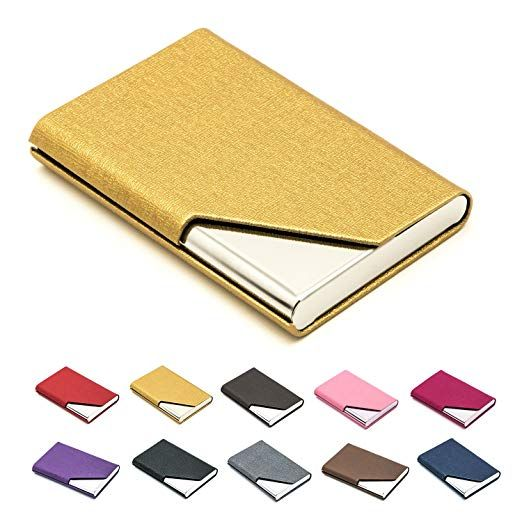 Business Name Card Holder Luxury Pu Leather Stainless Steel Multi Card Case Business Name Card Ho Name Card Holder Cleaning Business Cards Card Holder Wallet