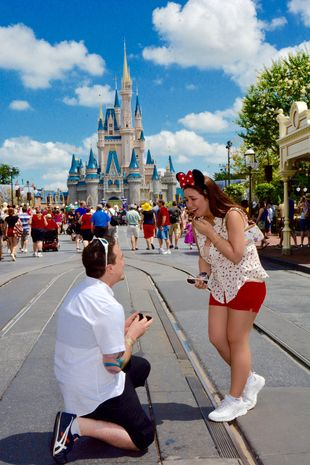 We're loving this Disney proposal! If you're looking for that fairy tale wedding, check out our line of Disney stationery: http://carlsoncraftproducts.com/Disney/index.cat