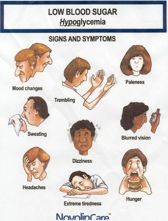 Signs and symptoms associated with hypoglycemia include nervousness, diaphoresis, weakness, light-headedness, confusion, paresthesia, irrita...