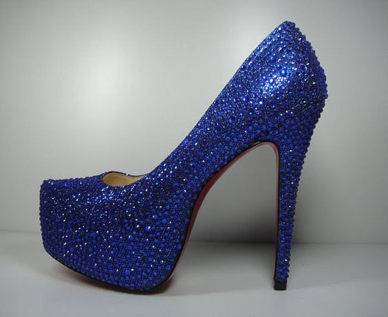 Custom Royal Blue Crystal Pumps with Red Bottom, Etsy shop with ...