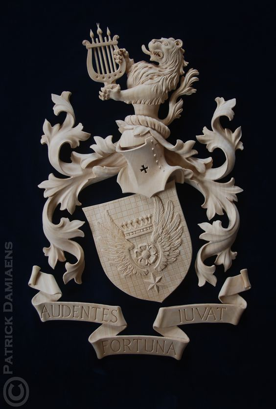 Coat of arms - Crest carved in limewood   Coat of arms Cornielje (Switserland)   A Coat of Arms-Crest carved in wood, painted and gilded   http://www.patrickdamiaens.be