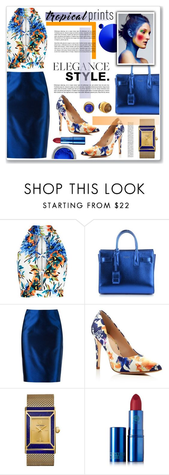 """tropical elegance"" by nanawidia ❤ liked on Polyvore featuring New Look, Yves Saint Laurent, Martha Medeiros, Vince Camuto, Tory Burch, Lipstick Queen and Marc by Marc Jacobs"