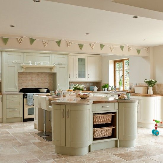Traditional green kitchen Team soft green cabinetry with a few cream units for a bespoke look. For added personality go for mismatching worktops too!  Cabinets Wren Kitchens  Read more at http://www.housetohome.co.uk/room-idea/picture/green-kitchen-colour-ideas-10-of-the-best/6#Yk2Myj6T6bCwtYbi.99