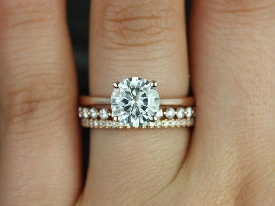 Skinny Flora, Petite Bubble Breathe, & Kimberly 14kt FB Moissanite and Diamonds Wedding Set (Other metals and stone options available)