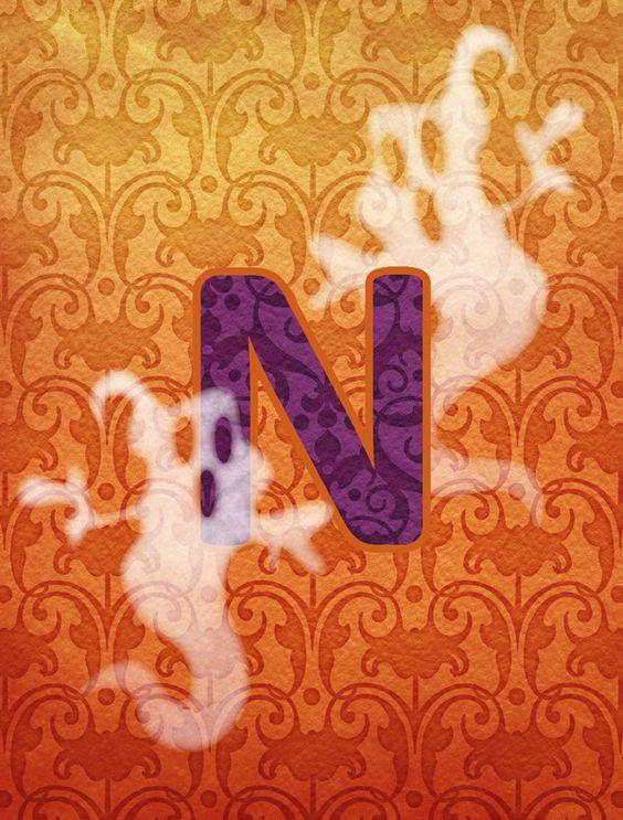 Halloween Ghost Letter N Monogram Initial Flag Garden Size CJ1040