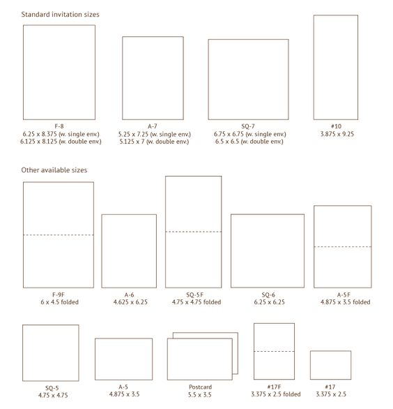 Invitation sizes. Also on this page: envelope styles/sizes ...