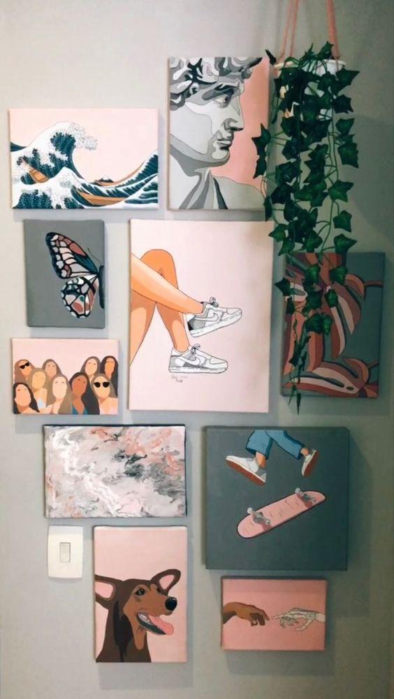 Room Decor Ideas Interior Door Design Aesthetic Wall Art Simple Minimalist Diy Art Painting Diy Canvas Art Cute Canvas Paintings