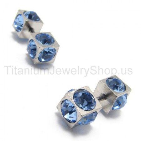 Boxes Titanium Inlayed blue Diamond Earrings 15565