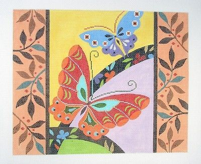 New-LEE-Butterflies-with-Border-handpainted-Needlepoint-Canvas-18-mesh